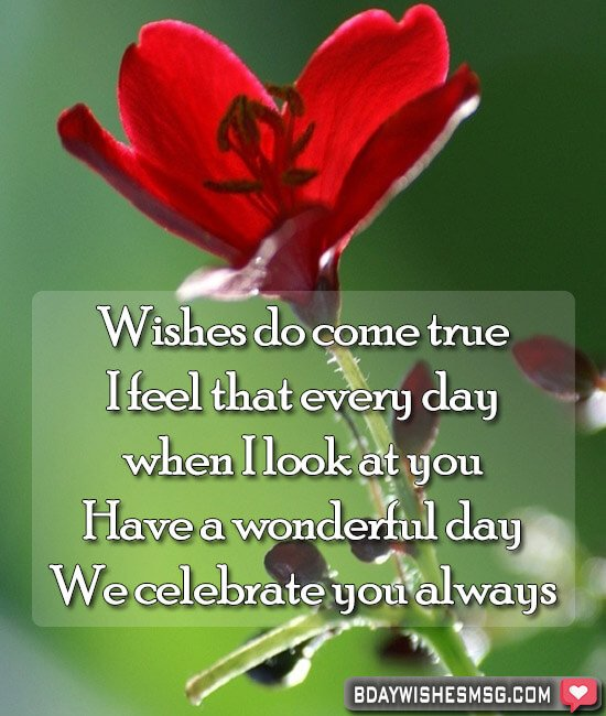 Wishes do come true; I feel that every day when I look at you. Have a wonderful day. We celebrate you always.