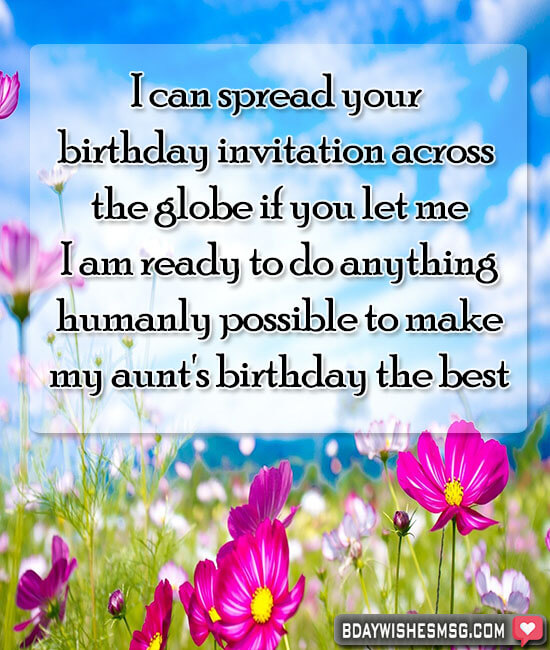 long birthday message for aunt