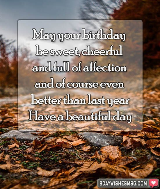 May your birthday be sweet, cheerful and full of affection. And of course, even better than last year. Cheers dear!