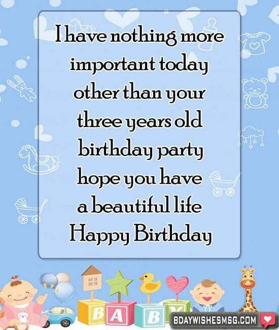 Superb Best Happy 3Rd Birthday Wishes Bday Wishes Msg Personalised Birthday Cards Veneteletsinfo