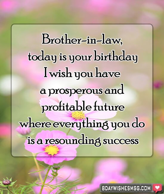Brother-in-law, today is your birthday, I wish you have a prosperous and profitable future, where everything you do is a resounding success.