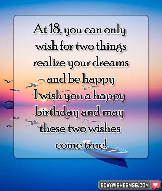 At 18, you can only wish for two things: realize your dreams and be happy! I wish you a happy birthday and may these two wishes come true!